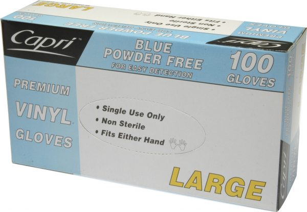 Glove Vinyl Blue Powder Free Large (box 100)