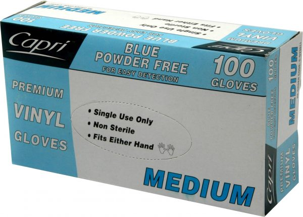Glove Vinyl Blue Powder Free Medium (box 100)