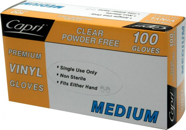 Glove Vinyl Clear Medium (carton of 10 packs) (1000)