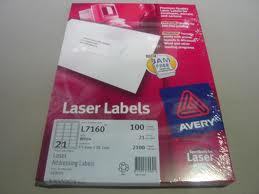 Avery White Mailing  Labels L7160 21 per sheet 63.5 x 38.1mm (20 sheets)