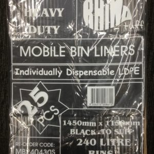 Bin Bags 240L Black Heavy Duty (carton 100)