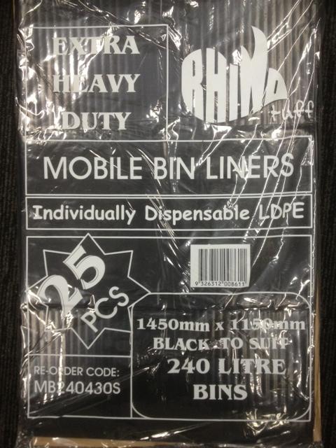 Bin Bags 240L Black Heavy Duty (carton 100)