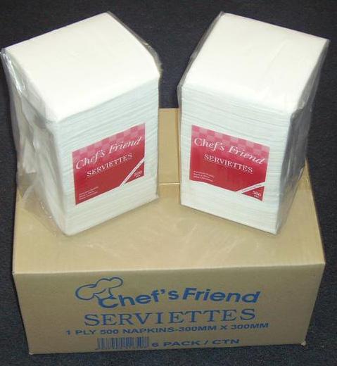 Napkins 1 Ply Luncheon White Chefs Friend (carton 3000)