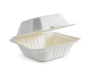 """BioPak 9x9x3"""" BioCane Clamshell Dinner Box (carton 200)"""