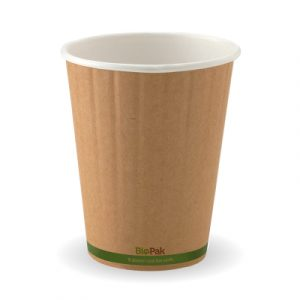 BioPak 08oz Leaf/Kraft Green Stripe Double Wall (carton 1000)