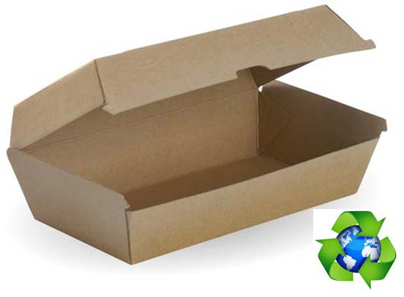 BioPak Snack Box Large Brown Board 205x107x77  (carton 200)