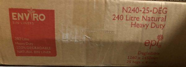 Bin Bags 240L Cear Degradable (carton 100)