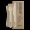 BioPak Cutlery Set - 16cm Wooden Knife, Fork & Napkin Set