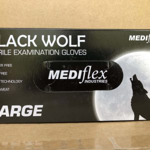 Glove Black Nitrile disposable Large WOLF (box 100)